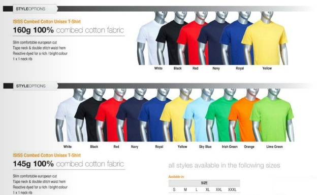 T Shirt Cost All Colors